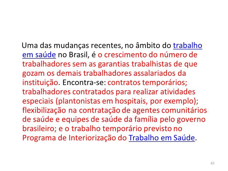 Uma das mudanças recentes, no âmbito do trabalho em saúde no Brasil, é o crescimento do número de trabalhadores sem as garantias trabalhistas de que g