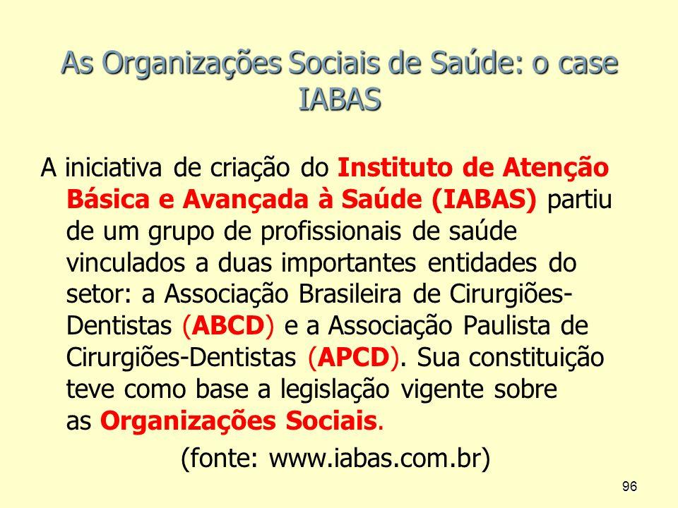 As Organizações Sociais de Saúde: o case IABAS A iniciativa de criação do Instituto de Atenção Básica e Avançada à Saúde (IABAS) partiu de um grupo de