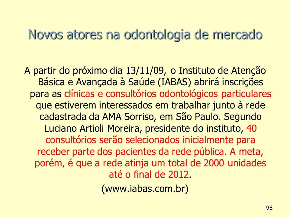 Novos atores na odontologia de mercado A partir do próximo dia 13/11/09, o Instituto de Atenção Básica e Avançada à Saúde (IABAS) abrirá inscrições pa