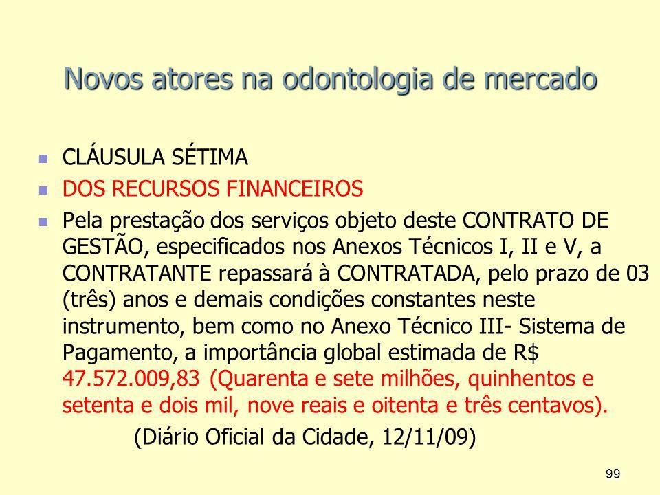 Novos atores na odontologia de mercado CLÁUSULA SÉTIMA DOS RECURSOS FINANCEIROS Pela prestação dos serviços objeto deste CONTRATO DE GESTÃO, especific