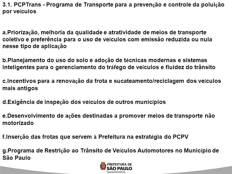 3.1. PCPTrans - Programa de Transporte para a preven ç ão e controle da polui ç ão por ve í culos a.Prioriza ç ão, melhoria da qualidade e atratividad