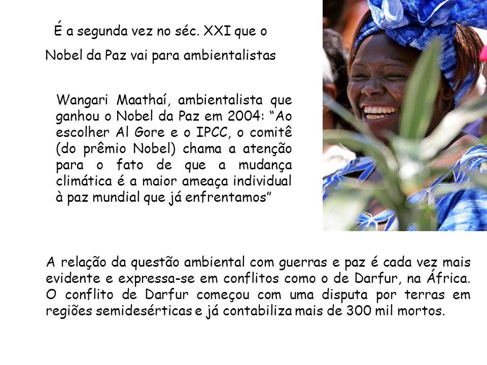 Wangari Maathaí, ambientalista que ganhou o Nobel da Paz em 2004: Ao escolher Al Gore e o IPCC, o comitê (do prêmio Nobel) chama a atenção para o fato