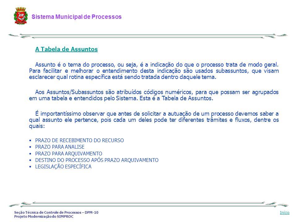 Seção Técnica de Controle de Processos – DPM-10 Projeto Modernização do SIMPROC Sistema Municipal de Processos Início A Tabela de Assuntos Assunto é o
