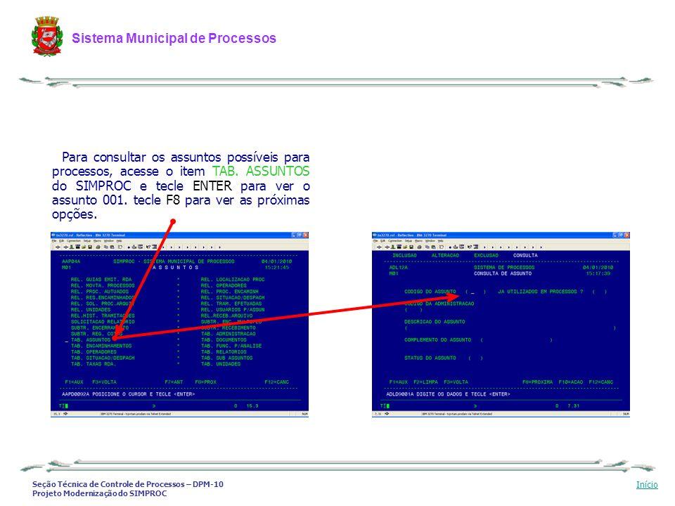 Seção Técnica de Controle de Processos – DPM-10 Projeto Modernização do SIMPROC Sistema Municipal de Processos Início Para consultar os assuntos possí