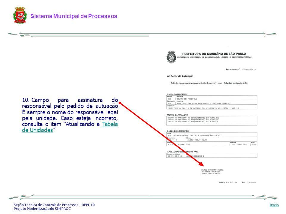 Seção Técnica de Controle de Processos – DPM-10 Projeto Modernização do SIMPROC Sistema Municipal de Processos Início 10. Campo para assinatura do res