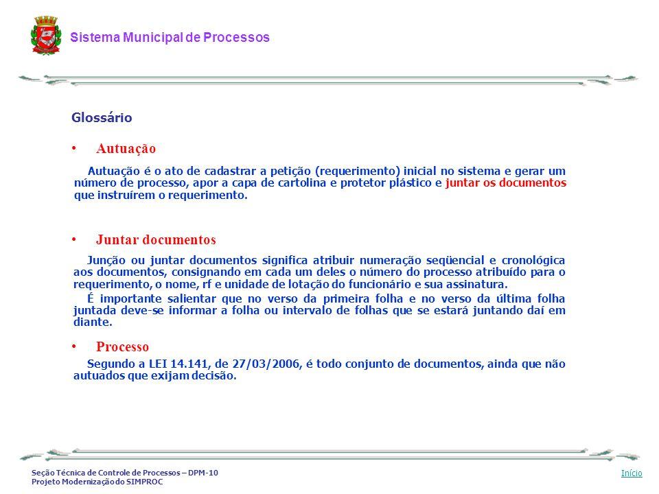 Seção Técnica de Controle de Processos – DPM-10 Projeto Modernização do SIMPROC Sistema Municipal de Processos Início Autuação é o ato de cadastrar a
