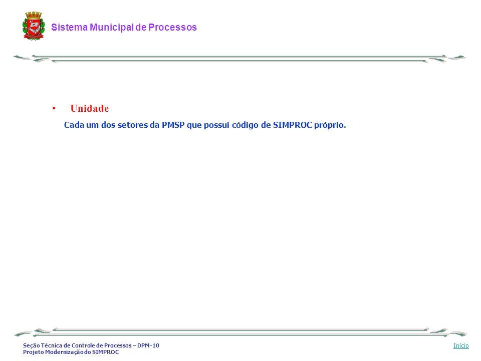 Seção Técnica de Controle de Processos – DPM-10 Projeto Modernização do SIMPROC Sistema Municipal de Processos Início Unidade Cada um dos setores da P