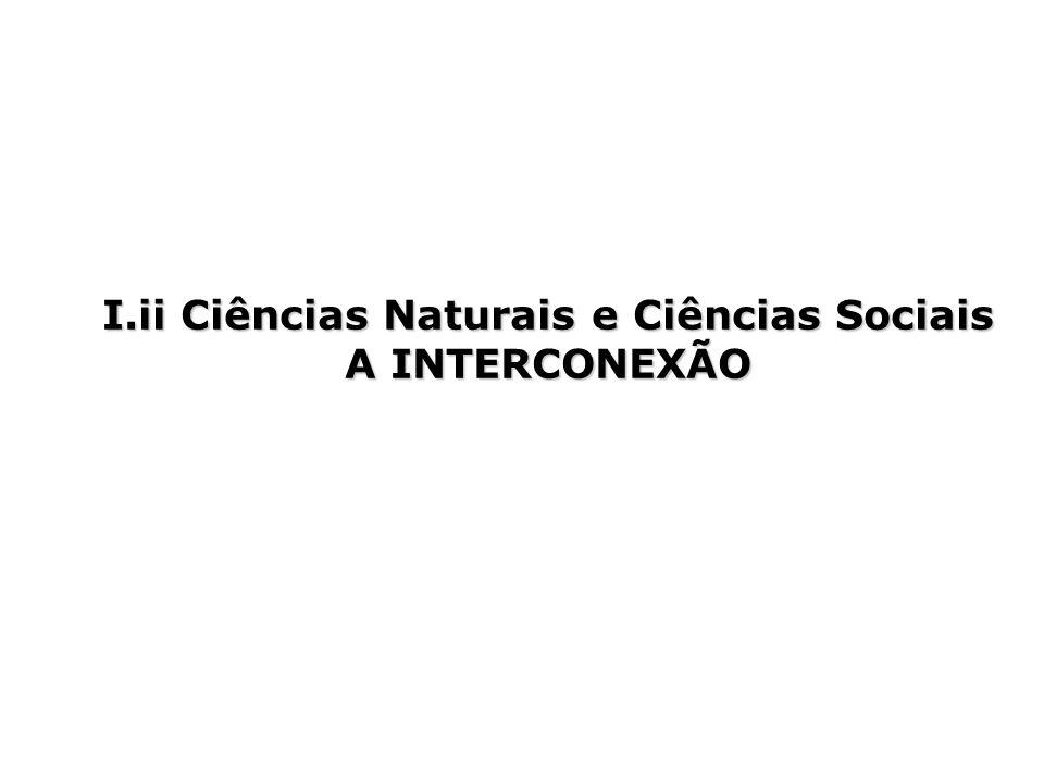 I.ii Ciências Naturais e Ciências Sociais A INTERCONEXÃO