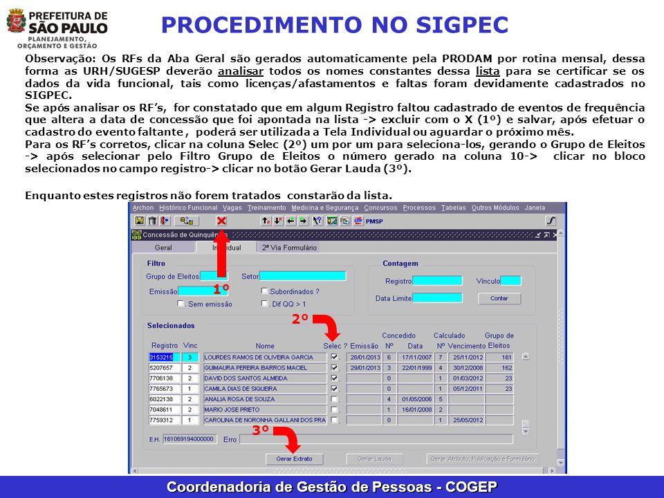 Coordenadoria de Gestão de Pessoas - COGEP PROCEDIMENTO NO SIGPEC Observação: Os RFs da Aba Geral são gerados automaticamente pela PRODAM por rotina m