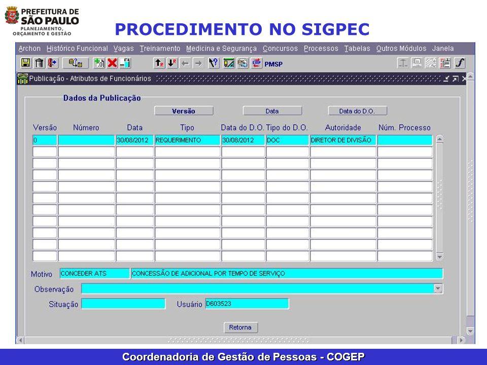 Coordenadoria de Gestão de Pessoas - COGEP PROCEDIMENTO NO SIGPEC