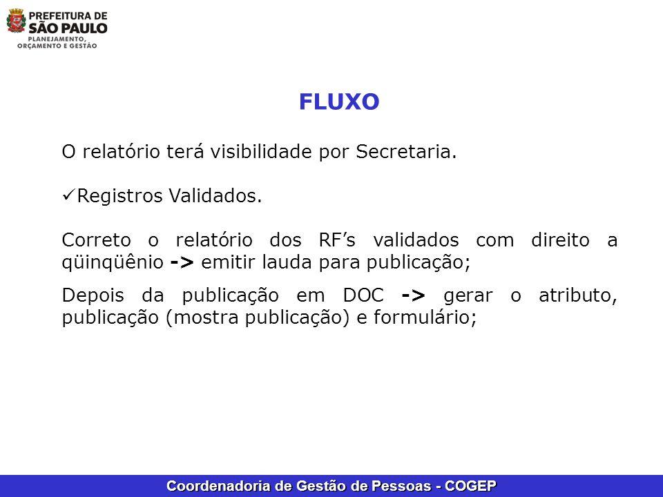Coordenadoria de Gestão de Pessoas - COGEP FLUXO O relatório terá visibilidade por Secretaria. Registros Validados. Correto o relatório dos RFs valida
