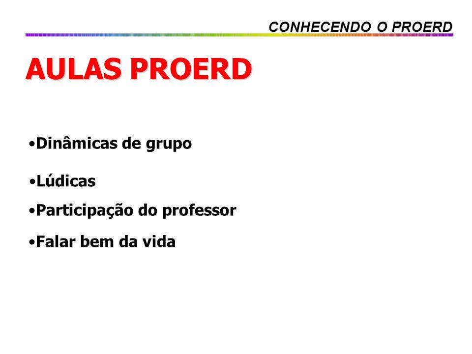 AULAS PROERD Lúdicas Dinâmicas de grupo Falar bem da vida Participação do professor CONHECENDO O PROERD