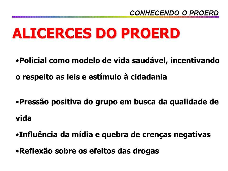 ALICERCES DO PROERD Policial como modelo de vida saudável, incentivando o respeito as leis e estímulo à cidadania Pressão positiva do grupo em busca d