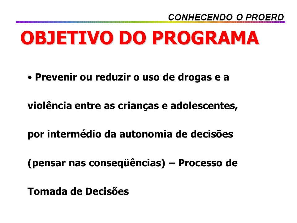 OBJETIVO DO PROGRAMA Prevenir ou reduzir o uso de drogas e a violência entre as crianças e adolescentes, por intermédio da autonomia de decisões (pens