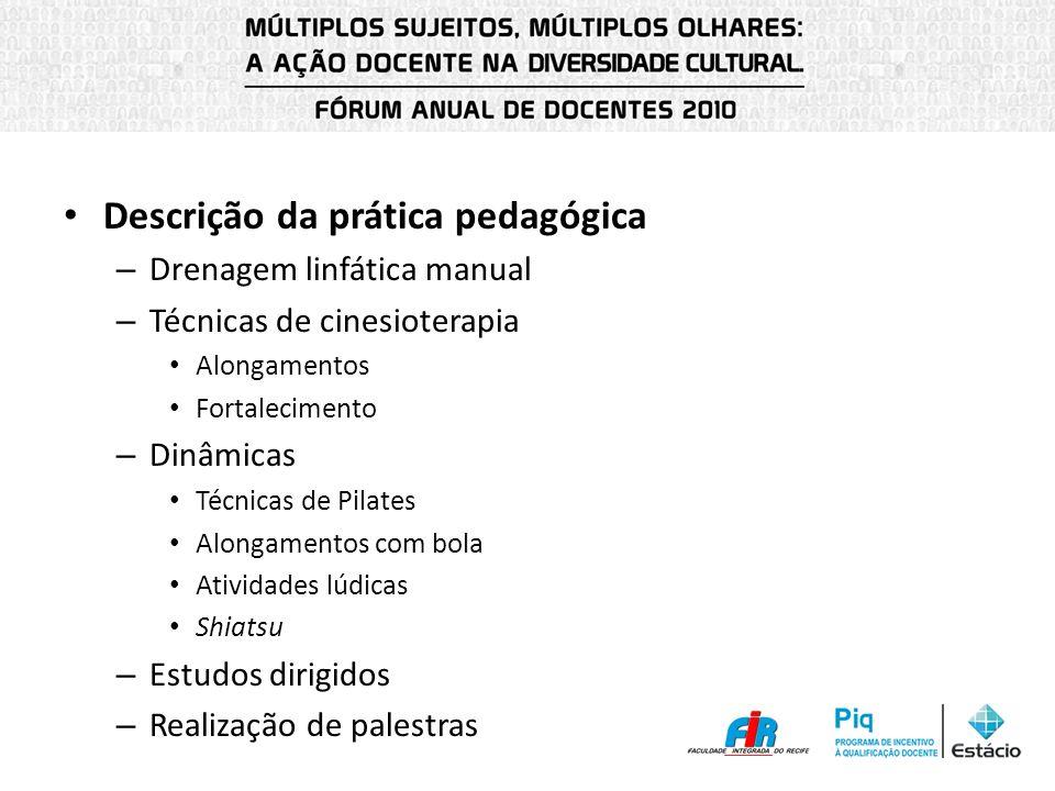 Descrição da prática pedagógica – Drenagem linfática manual – Técnicas de cinesioterapia Alongamentos Fortalecimento – Dinâmicas Técnicas de Pilates A