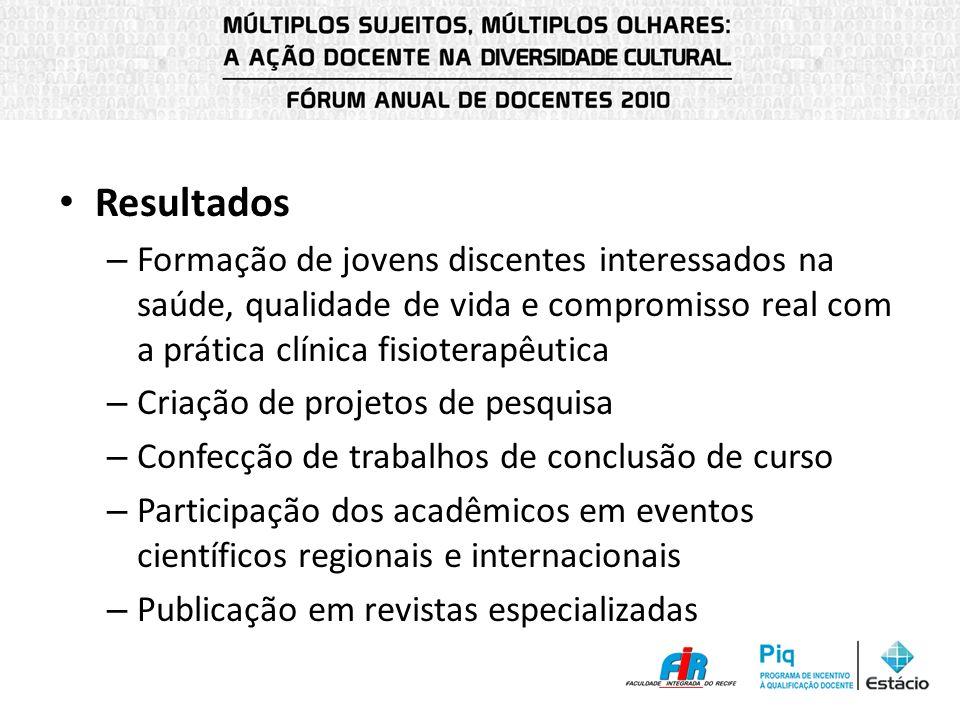 Resultados – Formação de jovens discentes interessados na saúde, qualidade de vida e compromisso real com a prática clínica fisioterapêutica – Criação