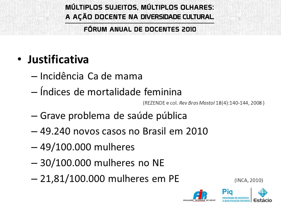 Justificativa – Incidência Ca de mama – Índices de mortalidade feminina (REZENDE e col. Rev Bras Mastol 18(4):140-144, 2008 ) – Grave problema de saúd