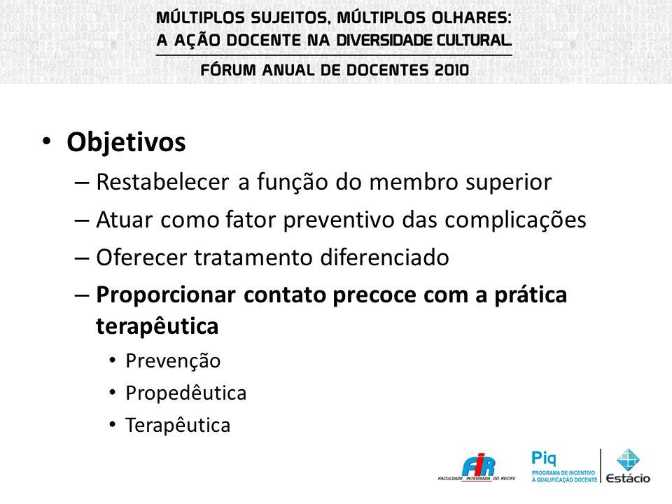 Objetivos – Restabelecer a função do membro superior – Atuar como fator preventivo das complicações – Oferecer tratamento diferenciado – Proporcionar