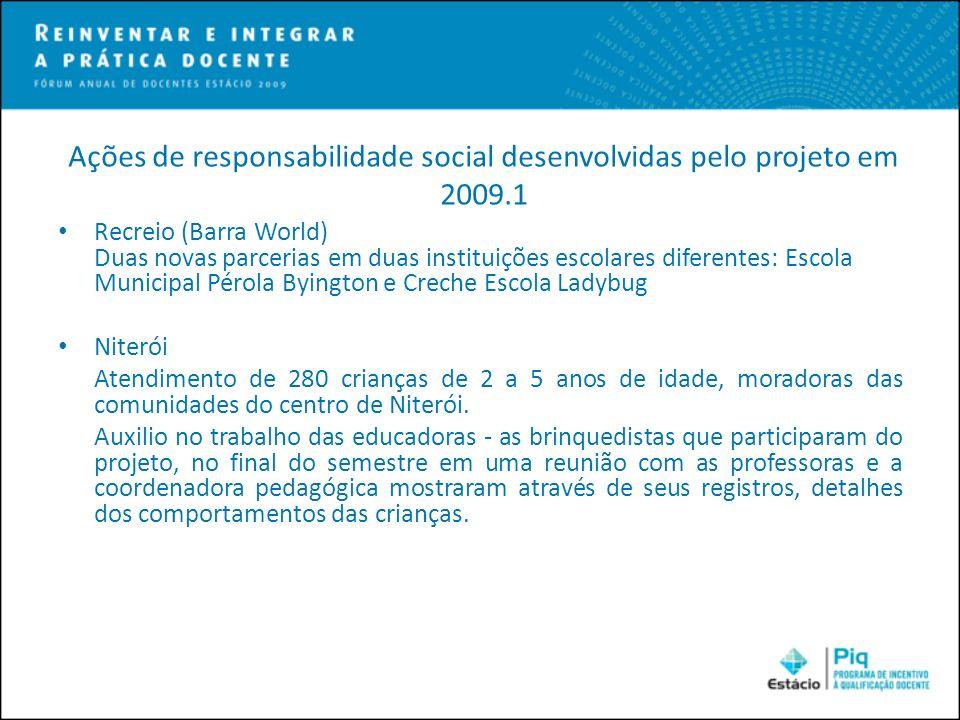 Ações de responsabilidade social desenvolvidas pelo projeto em 2009.1 Recreio (Barra World) Duas novas parcerias em duas instituições escolares difere