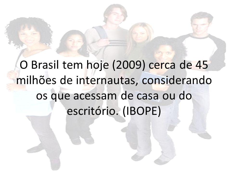 O Brasil tem hoje (2009) cerca de 45 milhões de internautas, considerando os que acessam de casa ou do escritório.