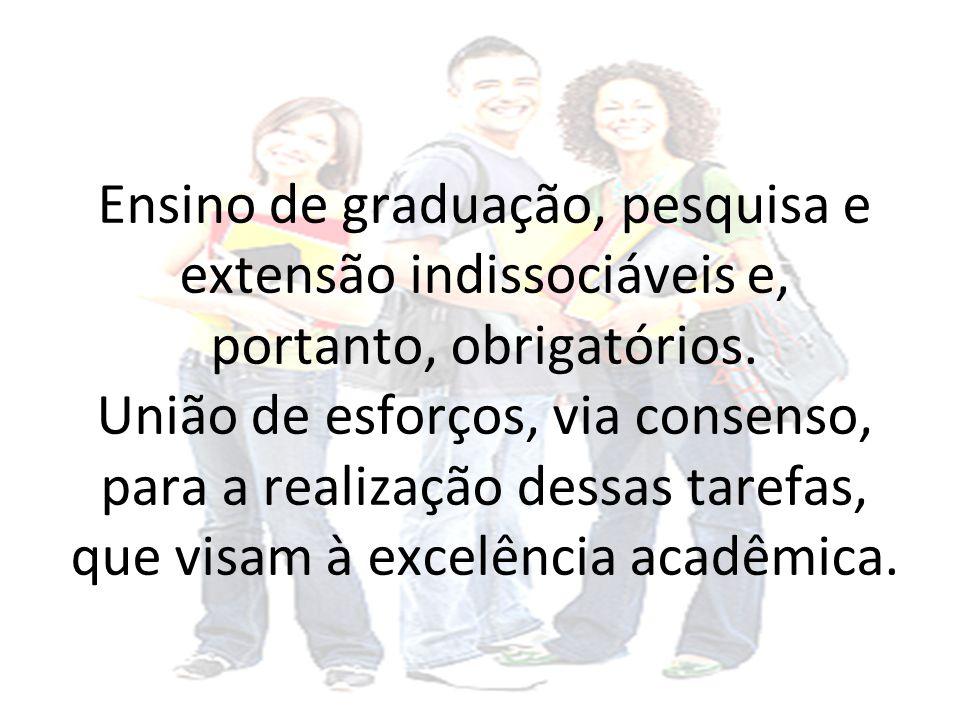 Ensino de graduação, pesquisa e extensão indissociáveis e, portanto, obrigatórios.