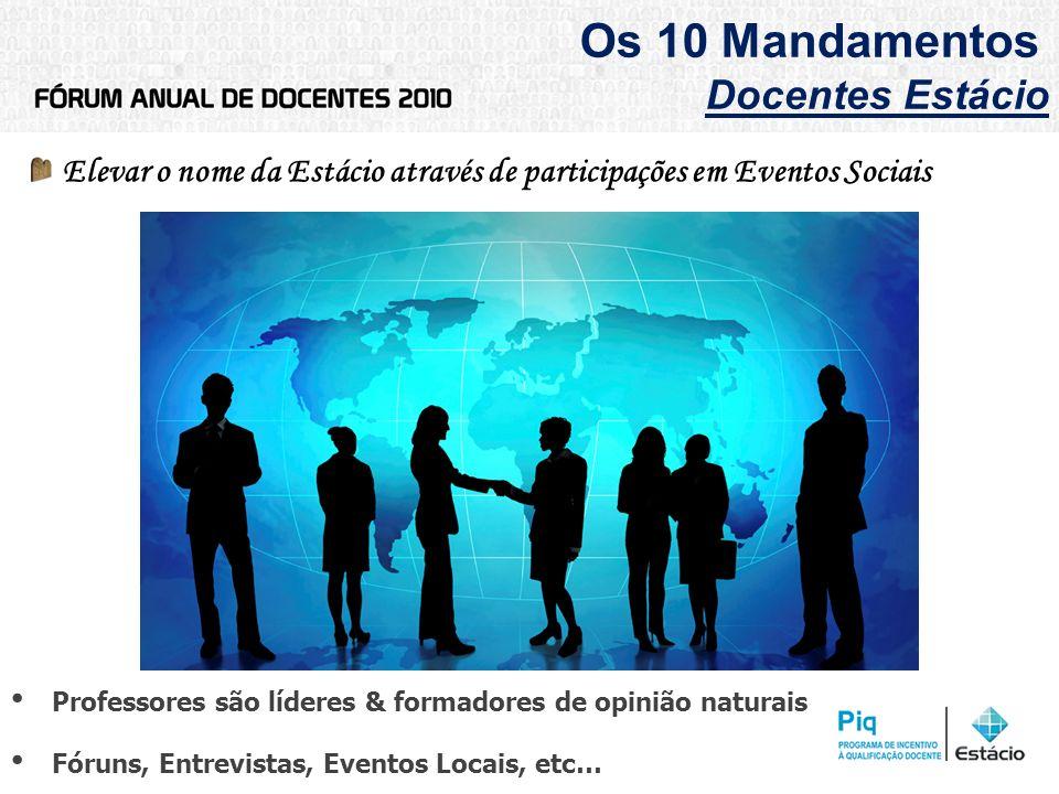 Os 10 Mandamentos Docentes Estácio Elevar o nome da Estácio através de participações em Eventos Sociais Professores são líderes & formadores de opiniã