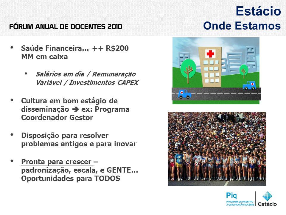 Estácio Onde Estamos Saúde Financeira… ++ R$200 MM em caixa Salários em dia / Remuneração Variável / Investimentos CAPEX Cultura em bom estágio de dis