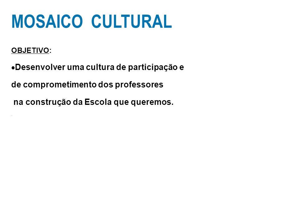 MOSAICO CULTURAL OBJETIVO: Desenvolver uma cultura de participação e de comprometimento dos professores na construção da Escola que queremos..