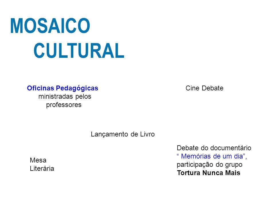 MOSAICO CULTURAL Debate do documentário Memórias de um dia, participação do grupo Tortura Nunca Mais Mesa Literária Lançamento de Livro Cine DebateOfi