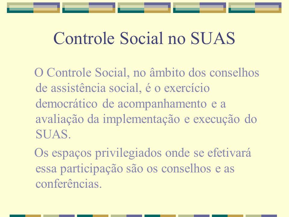 Controle Social no SUAS O Controle Social, no âmbito dos conselhos de assistência social, é o exercício democrático de acompanhamento e a avaliação da