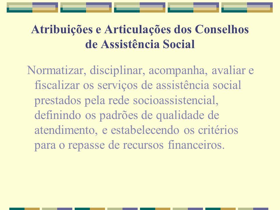 Atribuições e Articulações dos Conselhos de Assistência Social Normatizar, disciplinar, acompanha, avaliar e fiscalizar os serviços de assistência soc