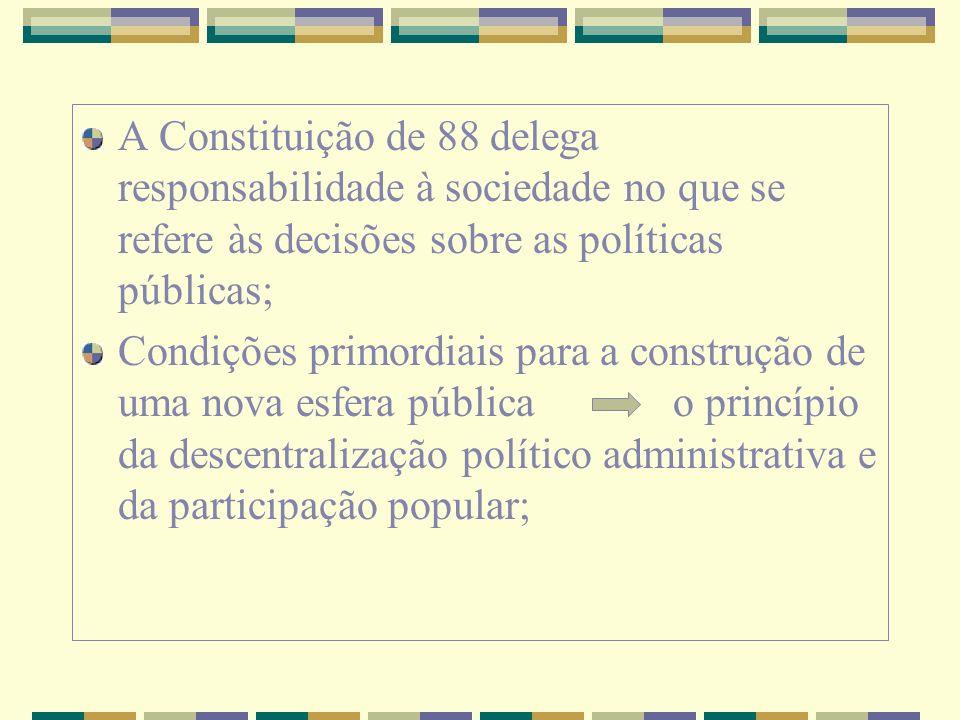 A Constituição de 88 delega responsabilidade à sociedade no que se refere às decisões sobre as políticas públicas; Condições primordiais para a constr