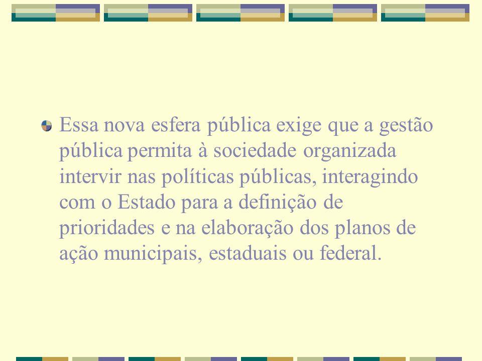 Essa nova esfera pública exige que a gestão pública permita à sociedade organizada intervir nas políticas públicas, interagindo com o Estado para a de