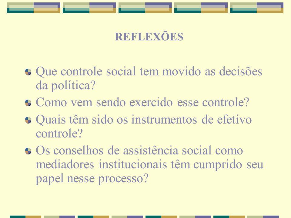 Que controle social tem movido as decisões da política? Como vem sendo exercido esse controle? Quais têm sido os instrumentos de efetivo controle? Os