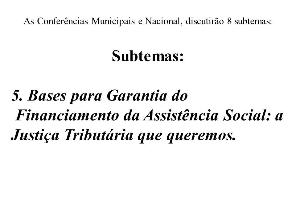 As Conferências Municipais e Nacional, discutirão 8 subtemas: Subtemas: 5. Bases para Garantia do Financiamento da Assistência Social: a Justiça Tribu