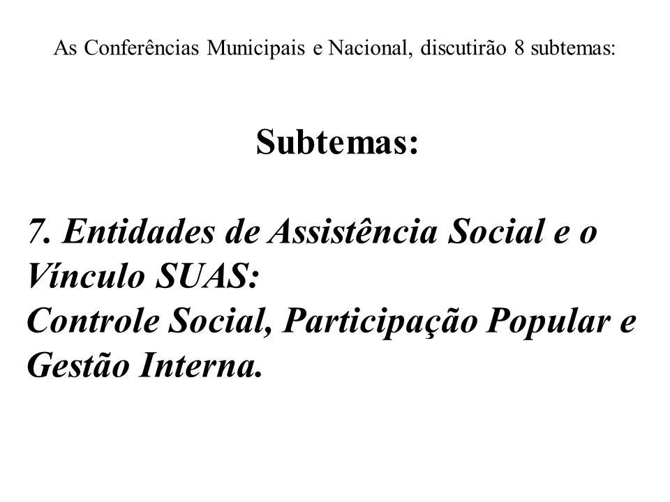 As Conferências Municipais e Nacional, discutirão 8 subtemas: Subtemas: 7. Entidades de Assistência Social e o Vínculo SUAS: Controle Social, Particip