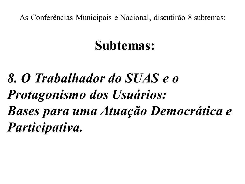 As Conferências Municipais e Nacional, discutirão 8 subtemas: Subtemas: 8. O Trabalhador do SUAS e o Protagonismo dos Usuários: Bases para uma Atuação