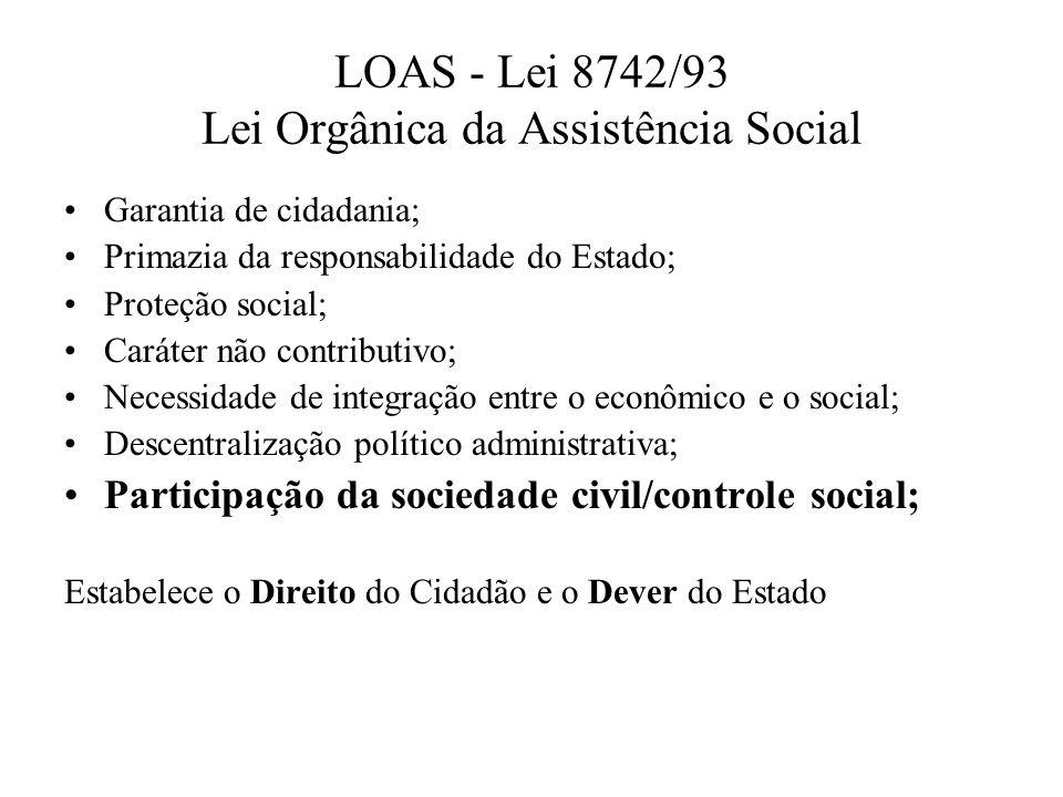 Garantia de cidadania; Primazia da responsabilidade do Estado; Proteção social; Caráter não contributivo; Necessidade de integração entre o econômico
