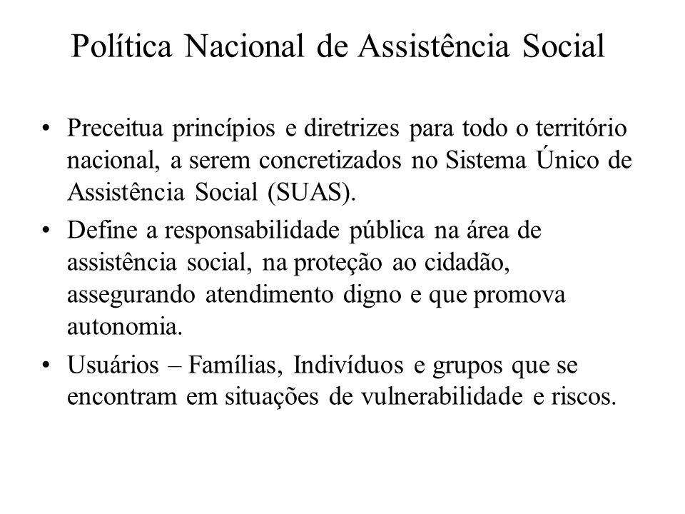 Política Nacional de Assistência Social Preceitua princípios e diretrizes para todo o território nacional, a serem concretizados no Sistema Único de A