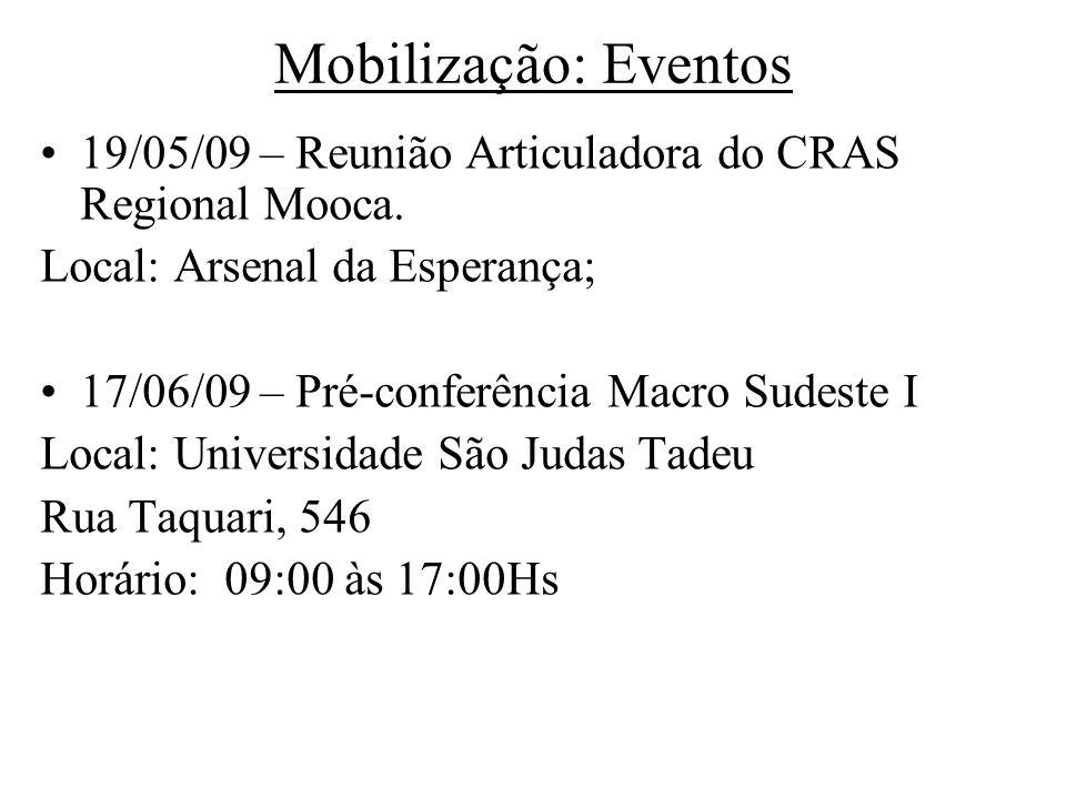 Mobilização: Eventos 19/05/09 – Reunião Articuladora do CRAS Regional Mooca. Local: Arsenal da Esperança; 17/06/09 – Pré-conferência Macro Sudeste I L