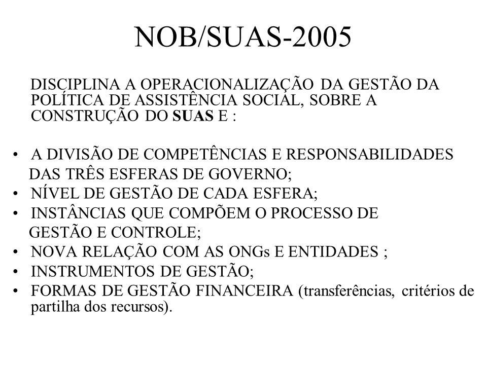 NOB/SUAS-2005 DISCIPLINA A OPERACIONALIZAÇÃO DA GESTÃO DA POLÍTICA DE ASSISTÊNCIA SOCIAL, SOBRE A CONSTRUÇÃO DO SUAS E : A DIVISÃO DE COMPETÊNCIAS E R