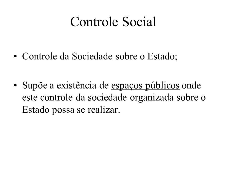 Controle Social Controle da Sociedade sobre o Estado; Supõe a existência de espaços públicos onde este controle da sociedade organizada sobre o Estado