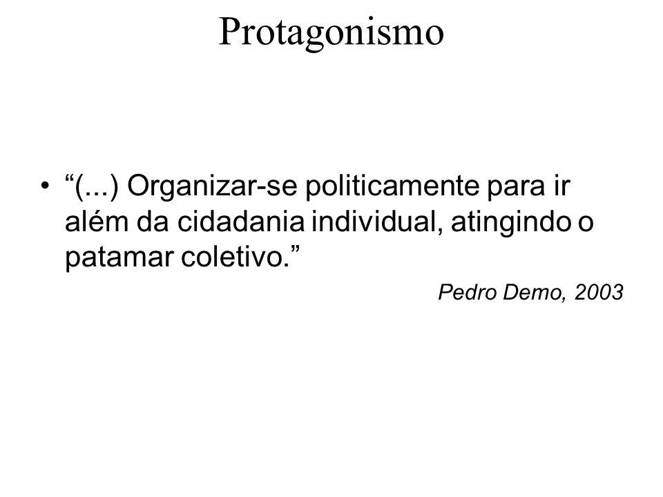 (...) Organizar-se politicamente para ir além da cidadania individual, atingindo o patamar coletivo. Pedro Demo, 2003 Protagonismo