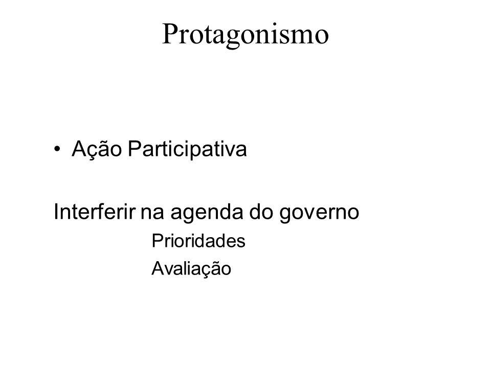 Protagonismo Ação Participativa Interferir na agenda do governo Prioridades Avaliação