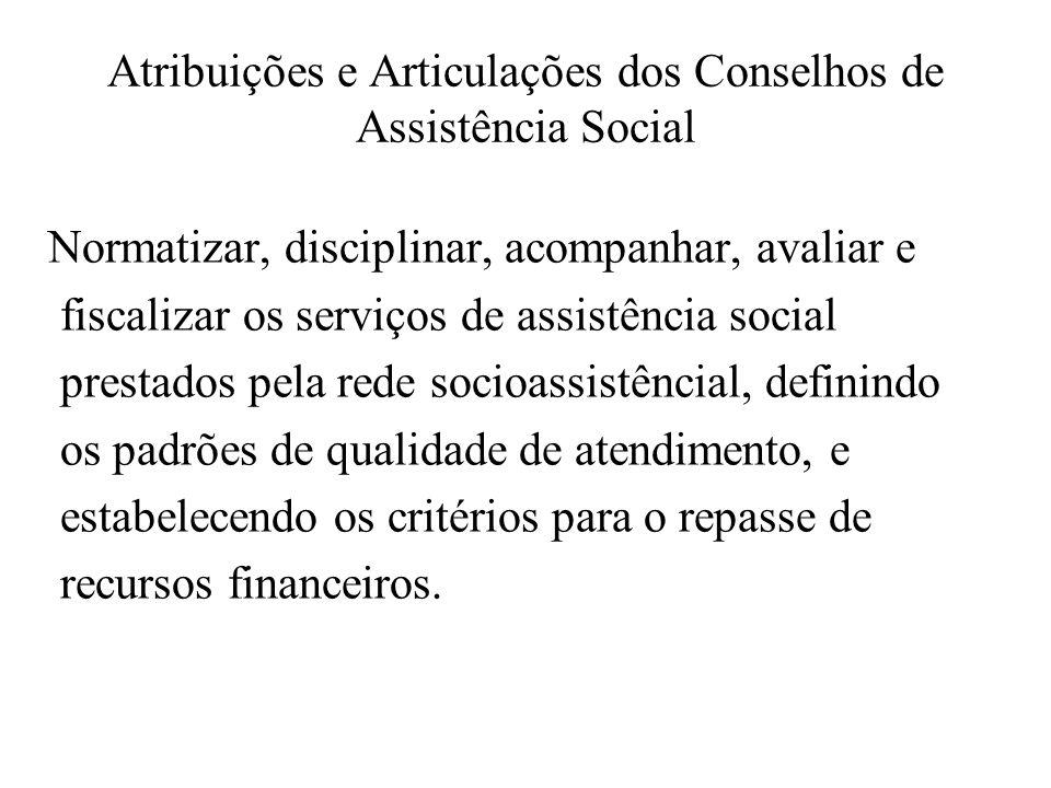 Atribuições e Articulações dos Conselhos de Assistência Social Normatizar, disciplinar, acompanhar, avaliar e fiscalizar os serviços de assistência so