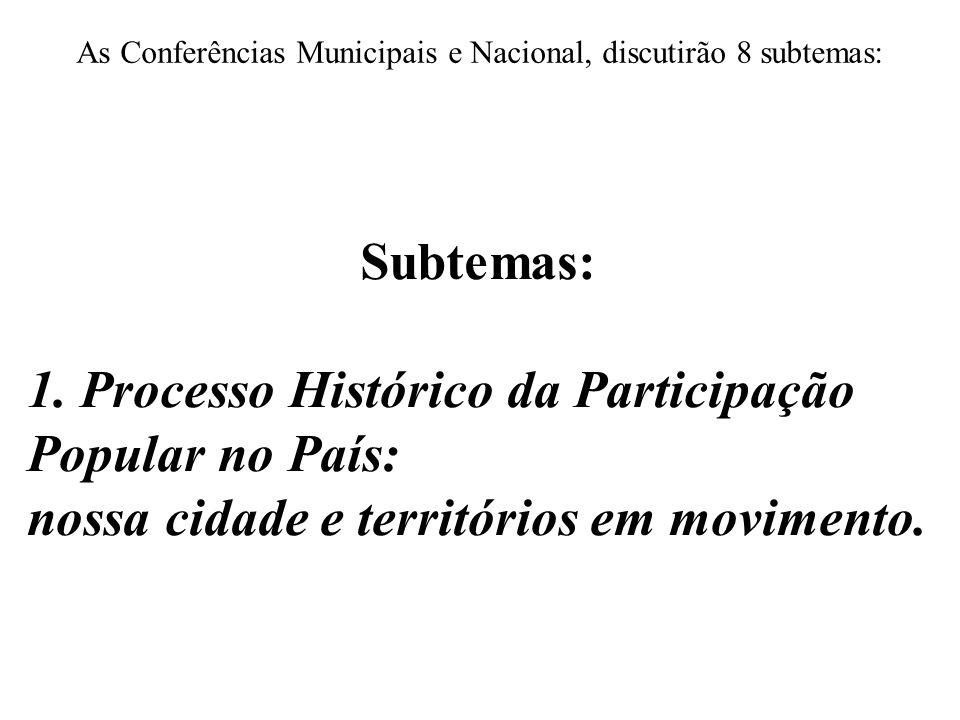 As Conferências Municipais e Nacional, discutirão 8 subtemas: Subtemas: 1. Processo Histórico da Participação Popular no País: nossa cidade e territór