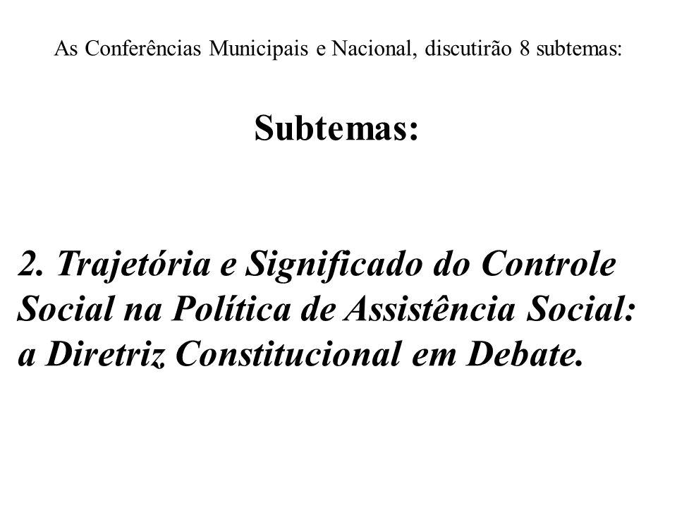 As Conferências Municipais e Nacional, discutirão 8 subtemas: Subtemas: 2. Trajetória e Significado do Controle Social na Política de Assistência Soci