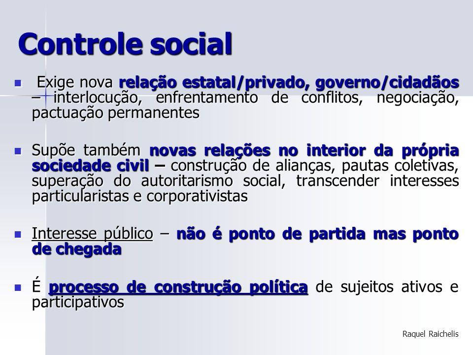 Controle social Exige nova relação estatal/privado, governo/cidadãos – interlocução, enfrentamento de conflitos, negociação, pactuação permanentes Exi