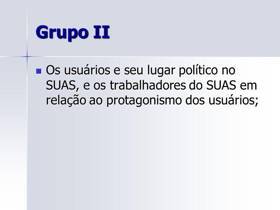 Grupo II Os usuários e seu lugar político no SUAS, e os trabalhadores do SUAS em relação ao protagonismo dos usuários; Os usuários e seu lugar polític