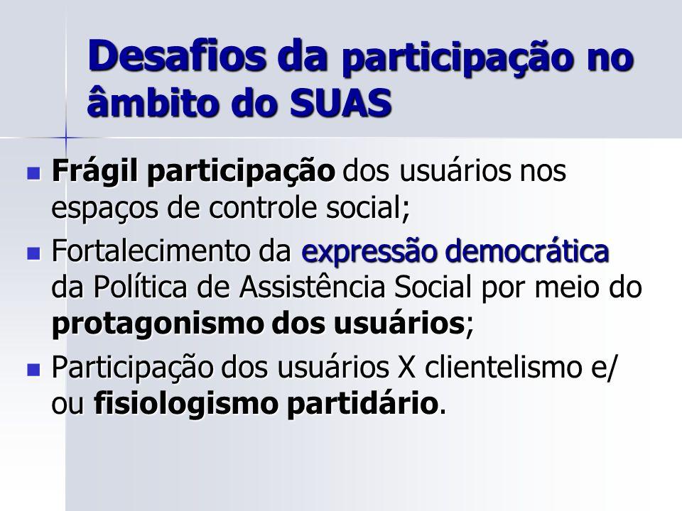 Desafios da participação no âmbito do SUAS Frágil participação dos usuários nos espaços de controle social; Frágil participação dos usuários nos espaç